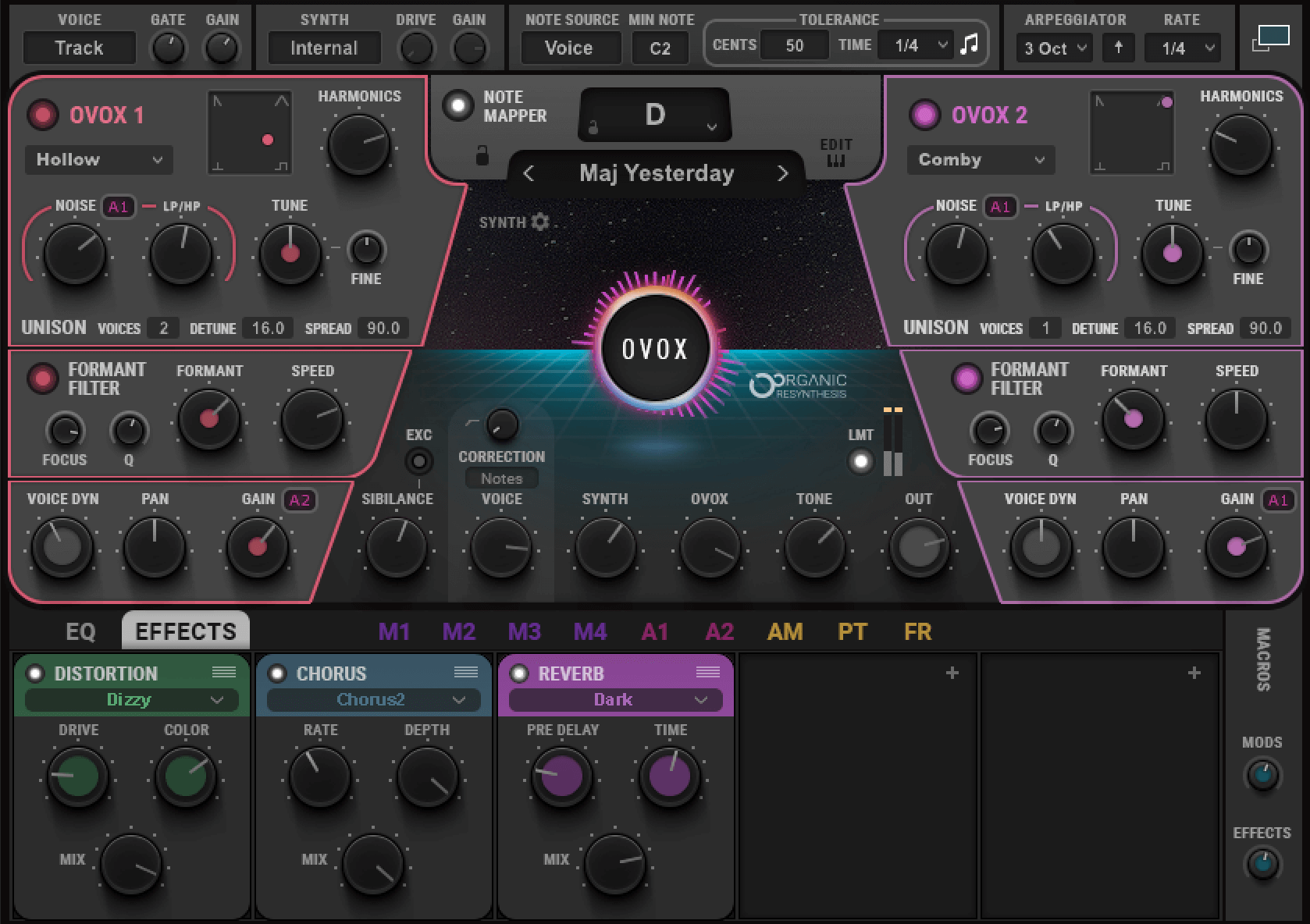 The Waves OVox settings used to create futuristic vocals