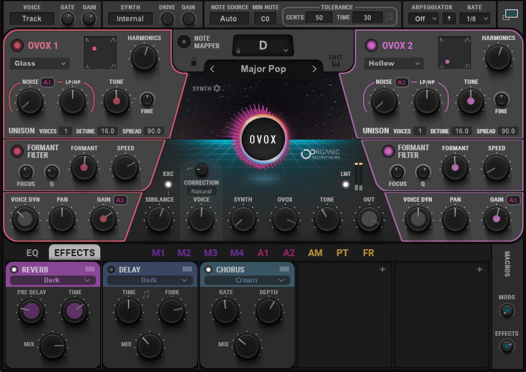 The Waves OVox settings used to create the ghostly Burial sound on vocal samples.