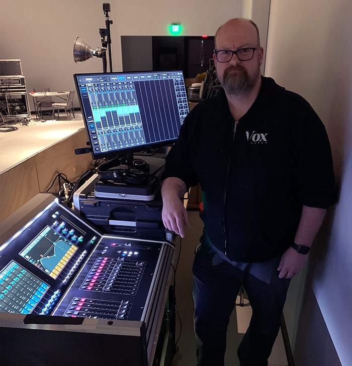 Eugene Mulcahy with his audio broadcast setup for Vox Church