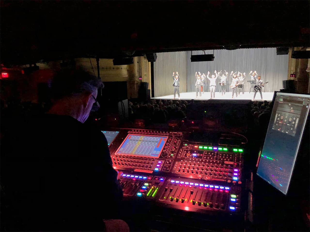 FOH engineer Peter Keppler, mixing a performance of American Utopia by David Byrne at Broadway's Hudson Theatre