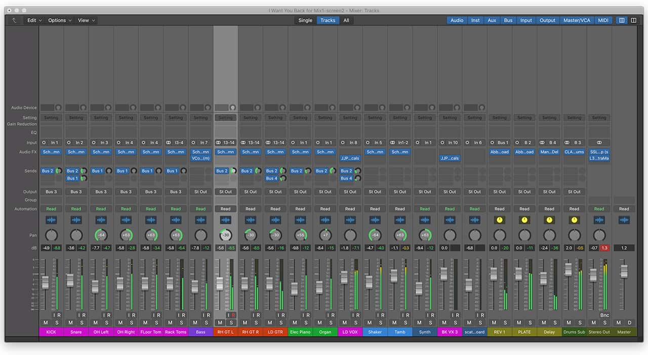 A mix that's color coded and arranged by track type makes it a lot easier to know what's going on at a glance.