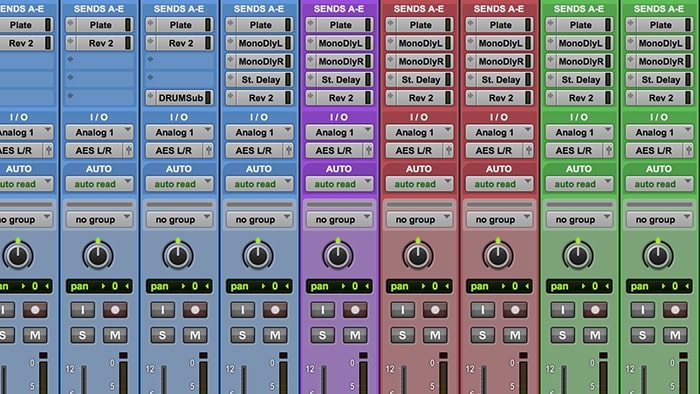 An example of a basic template for a band tracking situation, which already has reverbs and busses set up for the mix.