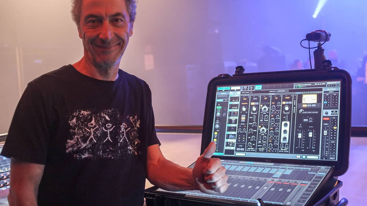 FOH engineer Bertrand Siffert with the eMotion LV1 mixer