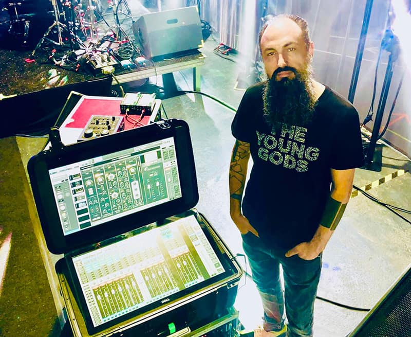 Monitor engineer Frederic Flori a.k.a. Urbain with the eMotion LV1 mixer