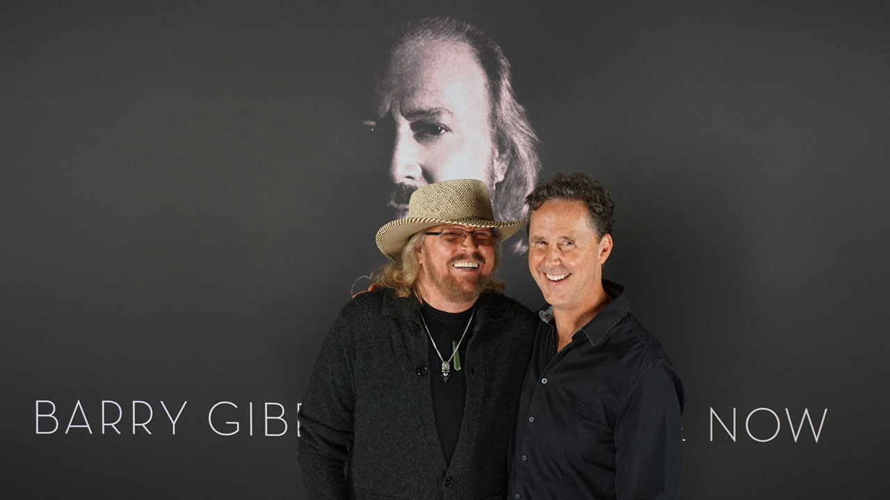 "Barry Gibb and John Merchant at the ""In the Now"" album launch, Miami, October 2016"