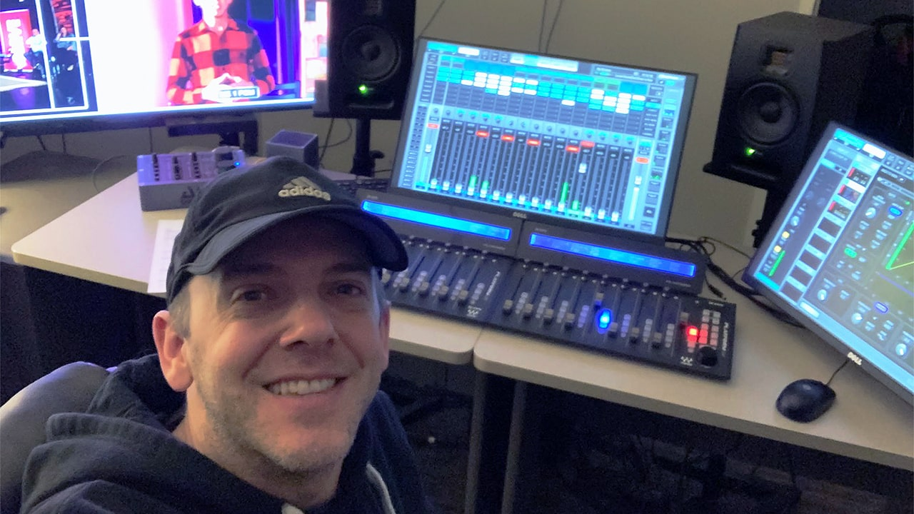 Dave Berry with eMotion LV1 at the Mount Hope broadcast room