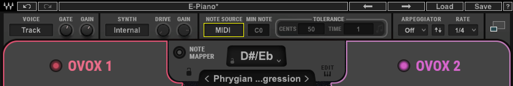 Inside OVox, make sure 'Note Source' is set to Auto or MIDI.