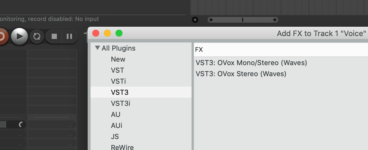 Search for OVox in your insert plugins list and open it on the audio track