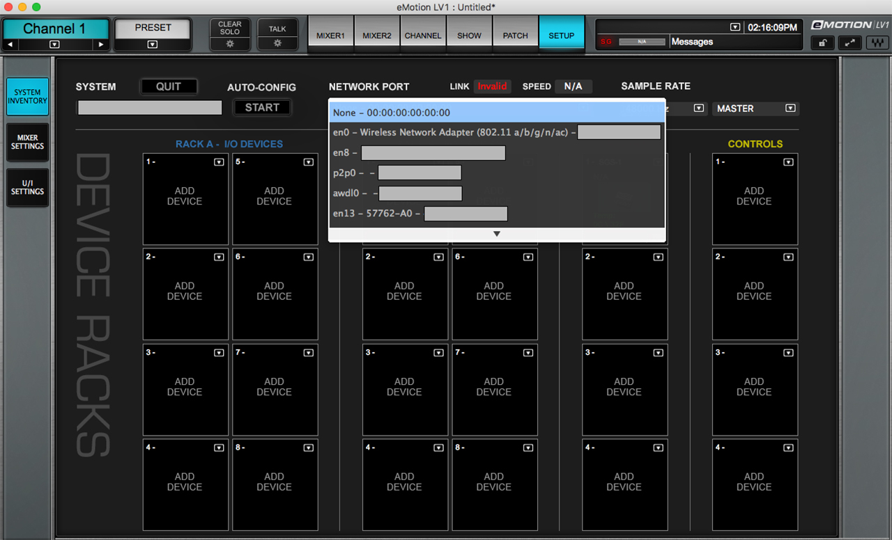 SoundGrid network port selection in the eMotion LV1 Setup page