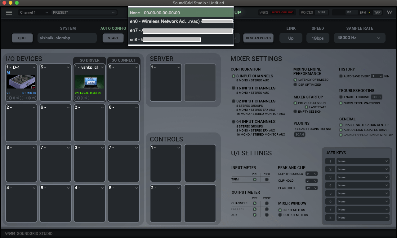 SoundGrid network port selection in the eMotion ST Setup page