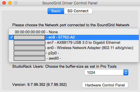 SoundGrid network port selection in the SoundGrid driver's control panel
