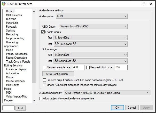 How to set up Reaper for SoundGrid Playback and Recording on Windows