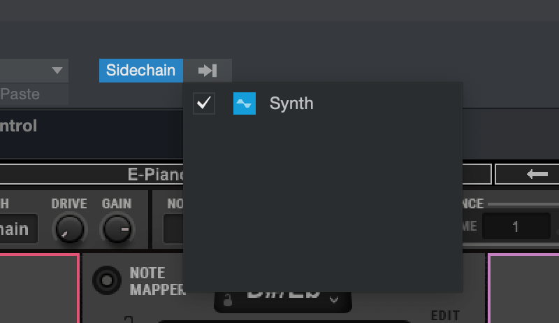 Open OVox and set the Synth track as its Sidechain