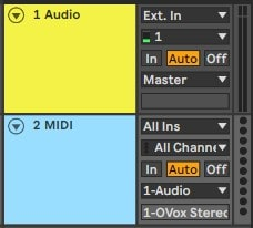 Create a new MIDI track and assign its output to the audio track.