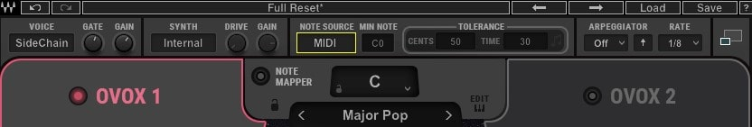 In OVox, make sure 'Note Source' is set to Auto or MIDI.