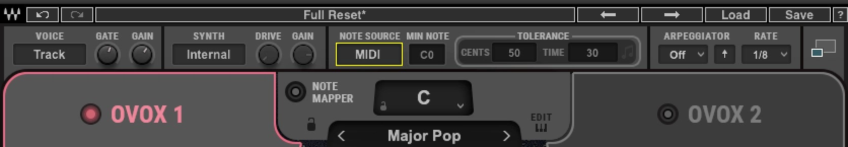 Inside OVox, make sure that 'Note Source' is set to either Auto or MIDI.