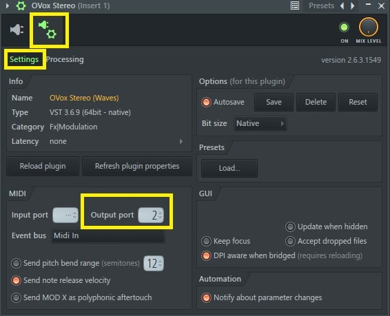 In the plugin Settings window, assign your MIDI out to a desired MIDI port.