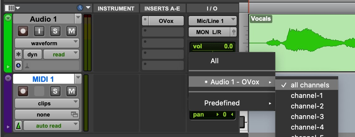 Create a new MIDI track and assign its input to the audio track that OVox is inserted on.