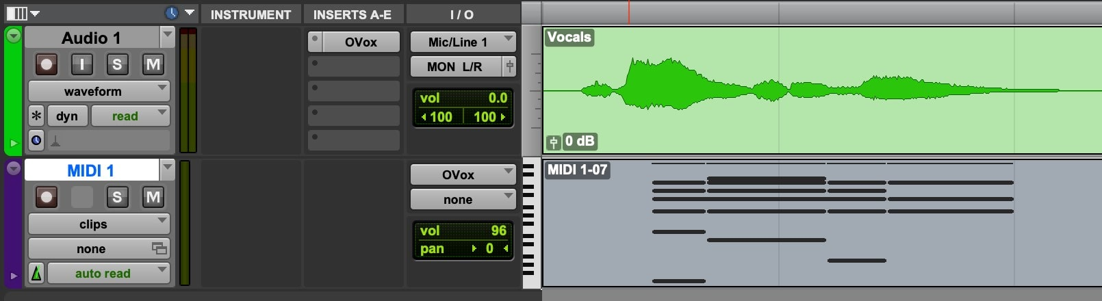 Record arm the MIDI track, and record while playing audio through the audio track.