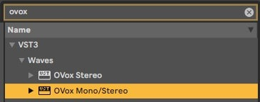 Search for OVox in your plugin list, and open it on the audio track.