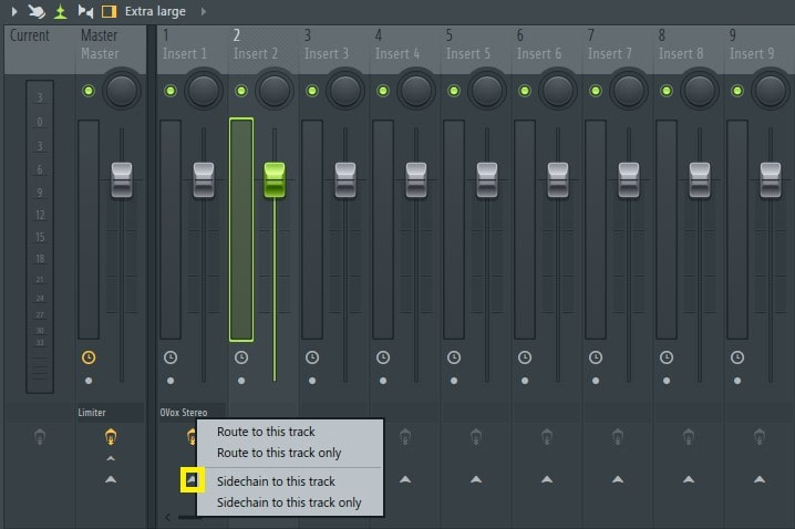 Select track 2, and then right-click on the arrow on the track that has OVox inserted.