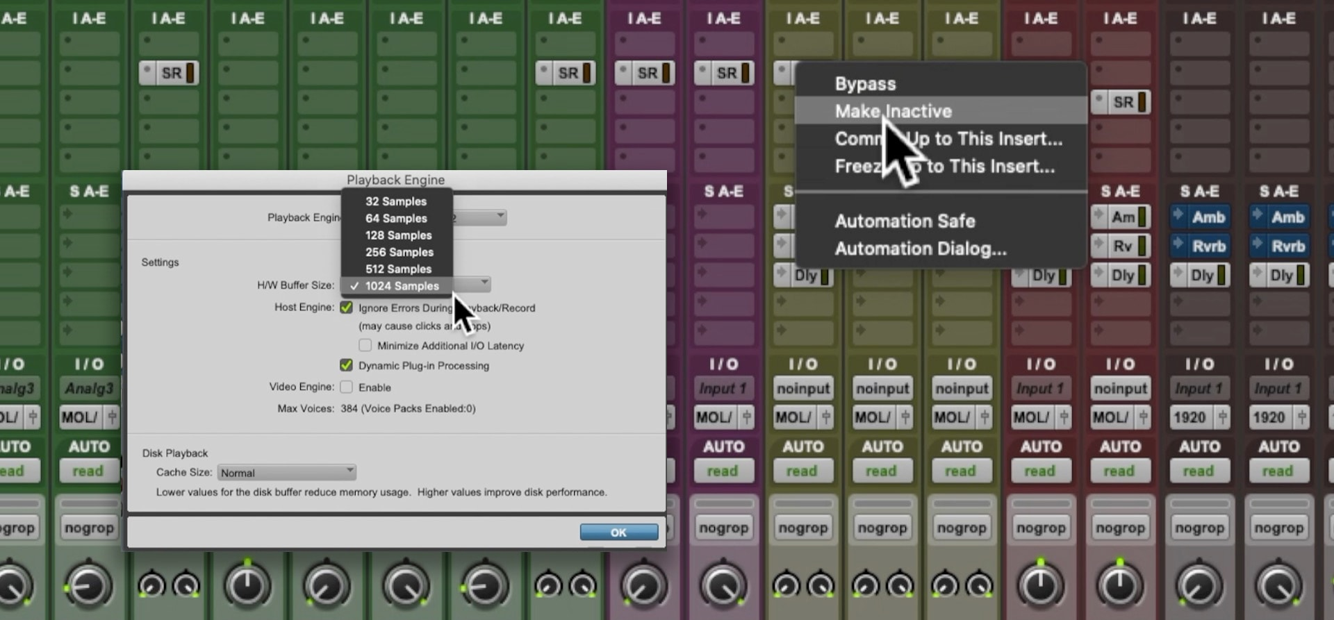 Pro Tools deactivating plugins, HW Buffer increase